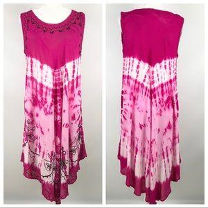 True Rock Tie-Dye Embroidered Boho Festival Dress
